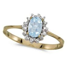 Aquamarine and Diamond Right Hand Flower Shaped Ring 14k Yellow Gold #PAPPS53024