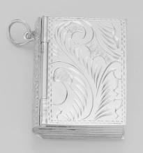 Antique Style Sterling Silver Book Pillbox with Etched Design #PAPPS97371