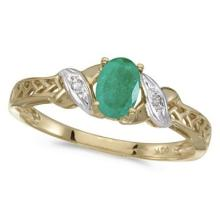 Emerald and Diamond Antique Style Ring in 14K Yellow Gold (0.45ct) #PAPPS53092