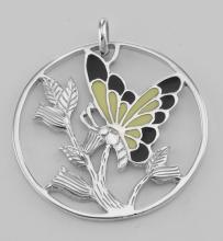 Beautiful Enamel Butterfly and Floral Pendant Sterling Silver #PAPPS97302
