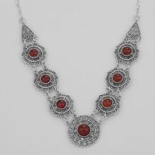 Antique Victorian Style Red Agate 18 Inch Necklace - Sterling Silver #PAPPS98431