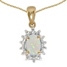 Certified 14k Yellow Gold Oval Opal And Diamond Pendant 0.21 CTW #PAPPS27609