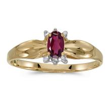 Certified 10k Yellow Gold Oval Rhodolite Garnet And Diamond Ring 0.24 CTW #PAPPS51274