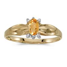 Certified 14k Yellow Gold Oval Citrine And Diamond Ring 0.16 CTW #PAPPS50630