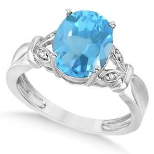 Oval Shaped Blue Topaz and Diamond Cocktail Ring 14k White Gold (2.52ct) #PAPPS65395