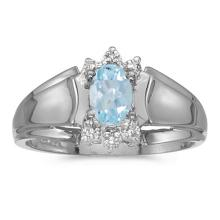 Certified 14k White Gold Oval Aquamarine And Diamond Ring 0.3 CTW #PAPPS50660
