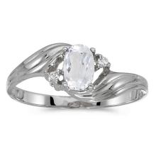 Certified 10k White Gold Oval White Topaz And Diamond Ring 0.5 CTW #PAPPS51144