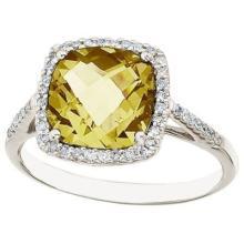 Cushion Lemon Quartz and Diamond Cocktail Ring 14k White Gold (3.70ct) #PAPPS53516