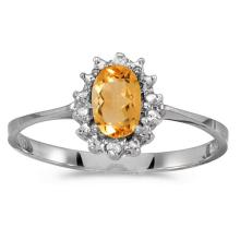 Certified 10k White Gold Oval Citrine And Diamond Ring 0.33 CTW #PAPPS51279