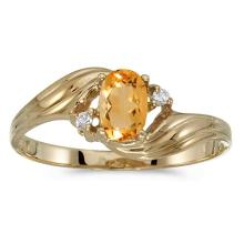 Certified 10k Yellow Gold Oval Citrine And Diamond Ring 0.33 CTW #PAPPS51151