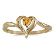 Certified 10k Yellow Gold Round Citrine Heart Ring 0.08 CTW #PAPPS50557