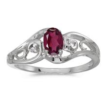 Certified 14k White Gold Oval Rhodolite Garnet And Diamond Ring 0.5 CTW #PAPPS51145