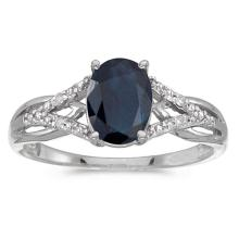 Certified 14k White Gold Oval Sapphire And Diamond Ring 1.2 CTW #PAPPS51356