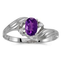 Certified 10k White Gold Oval Amethyst And Diamond Ring 0.36 CTW #PAPPS51147