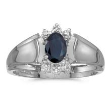 Certified 14k White Gold Oval Sapphire And Diamond Ring 0.4 CTW #PAPPS50628