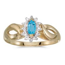 Certified 10k Yellow Gold Marquise Blue Topaz And Diamond Ring 0.25 CTW #PAPPS50566