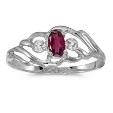 Certified 14k White Gold Oval Rhodolite Garnet And Diamond Ring 0.24 CTW #PAPPS51044
