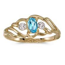 Certified 10k Yellow Gold Oval Blue Topaz And Diamond Ring 0.2 CTW #PAPPS51262