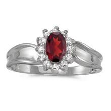 Certified 10k White Gold Oval Garnet And Diamond Ring 0.61 CTW #PAPPS51357