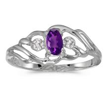Certified 14k White Gold Oval Amethyst And Diamond Ring 0.19 CTW #PAPPS51116