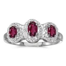 Certified 14k White Gold Oval Rhodolite Garnet And Diamond Three Stone Ring 0.66 CTW #PAPPS51280