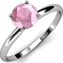 CERTIFIED 14K .55 CTW PINK TOURMALINE SOLITAIRE RING #PAPPS84654