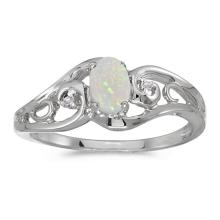Certified 14k White Gold Oval Opal And Diamond Ring 0.2 CTW #PAPPS51179