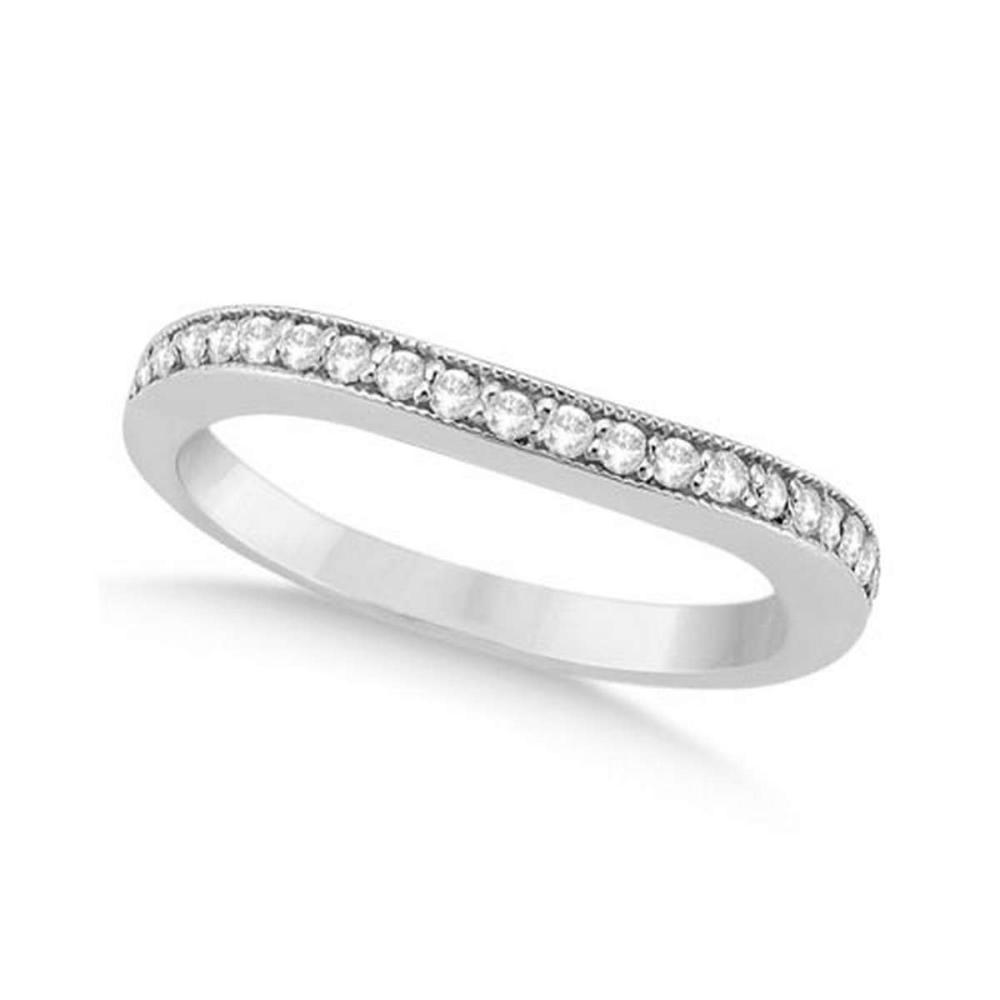 Curved Diamond Wedding Band 18k White Gold (0.22ct) #PAPPS21083