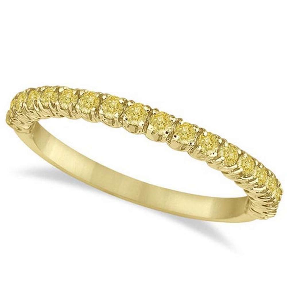 Half-Eternity Pave Thin Yellow Diamond Ring 14k Yellow Gold (0.50ct) #PAPPS65927