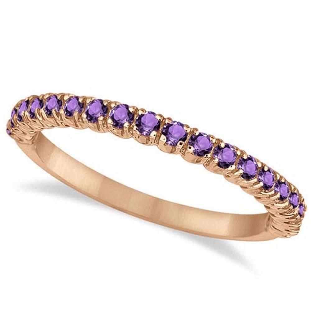 Half-Eternity Pave-Set Thin Amethyst Stacking Ring 14k Rose Gold (0.65ct) #PAPPS65939