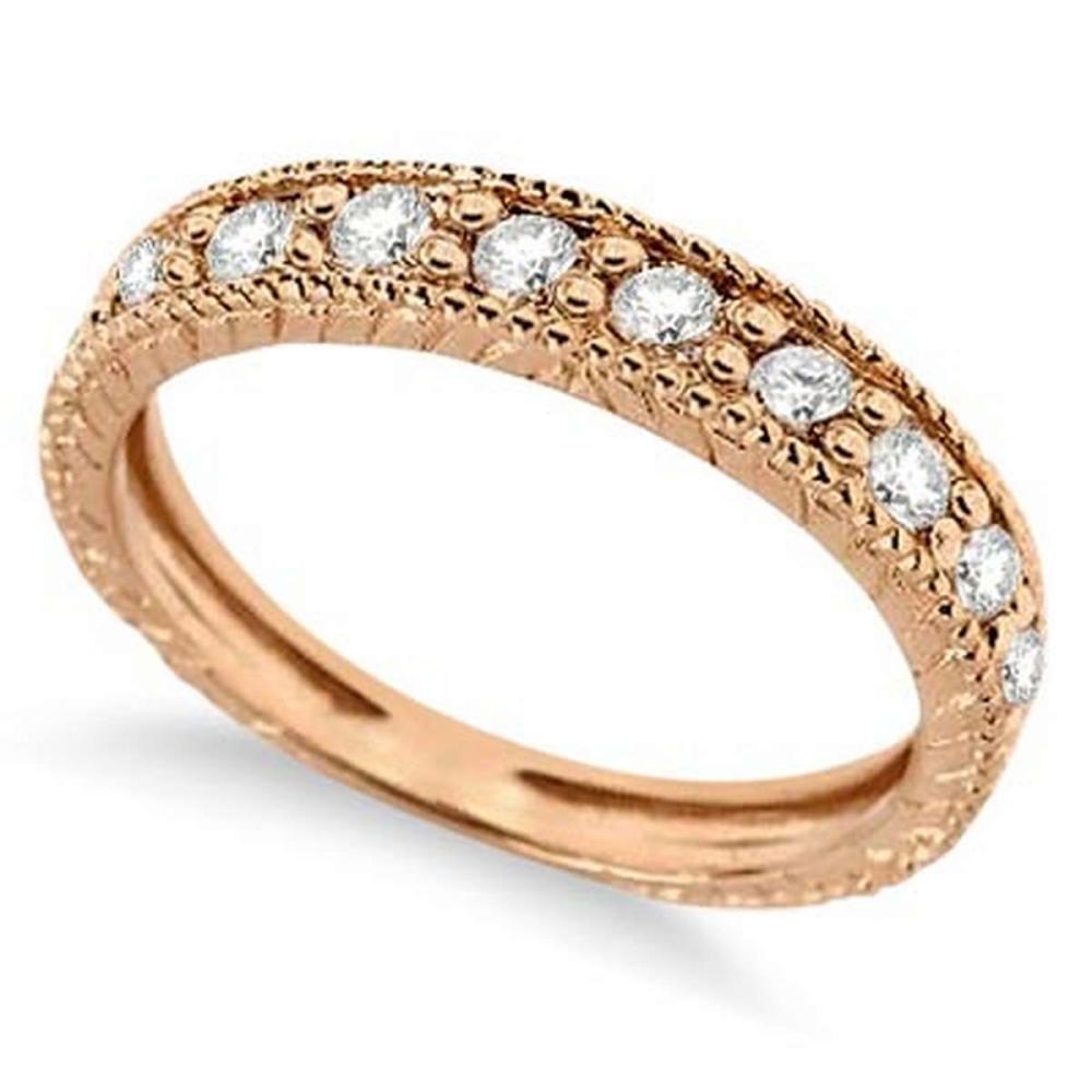 Vintage Style Diamond Wedding Ring Band Half-Way 14k Rose Gold 0.55ctw #PAPPS51639