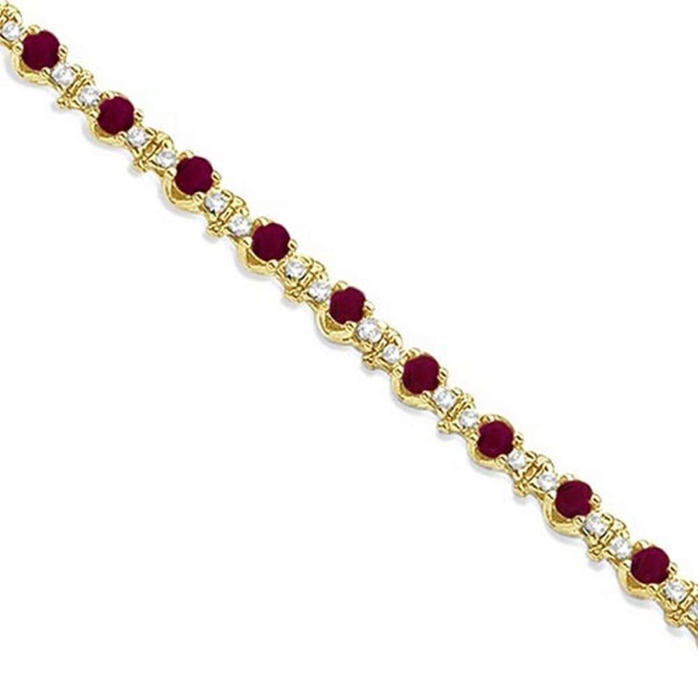 Round Ruby and Diamond Tennis Bracelet 14k Yellow Gold (2.50ct) #PAPPS65710
