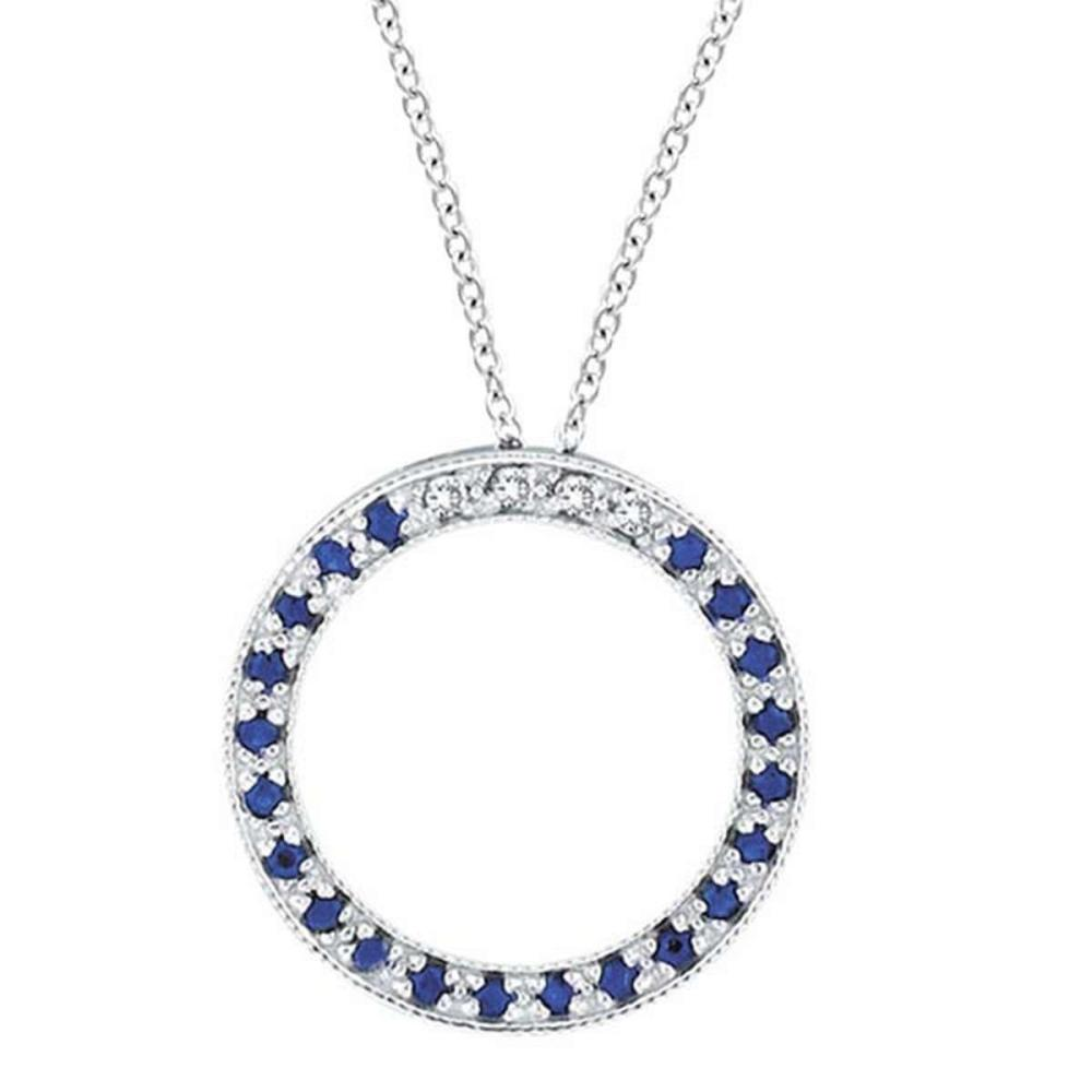 Diamond and Blue Sapphire Circle Pendant Necklace 14k White Gold #PAPPS51591