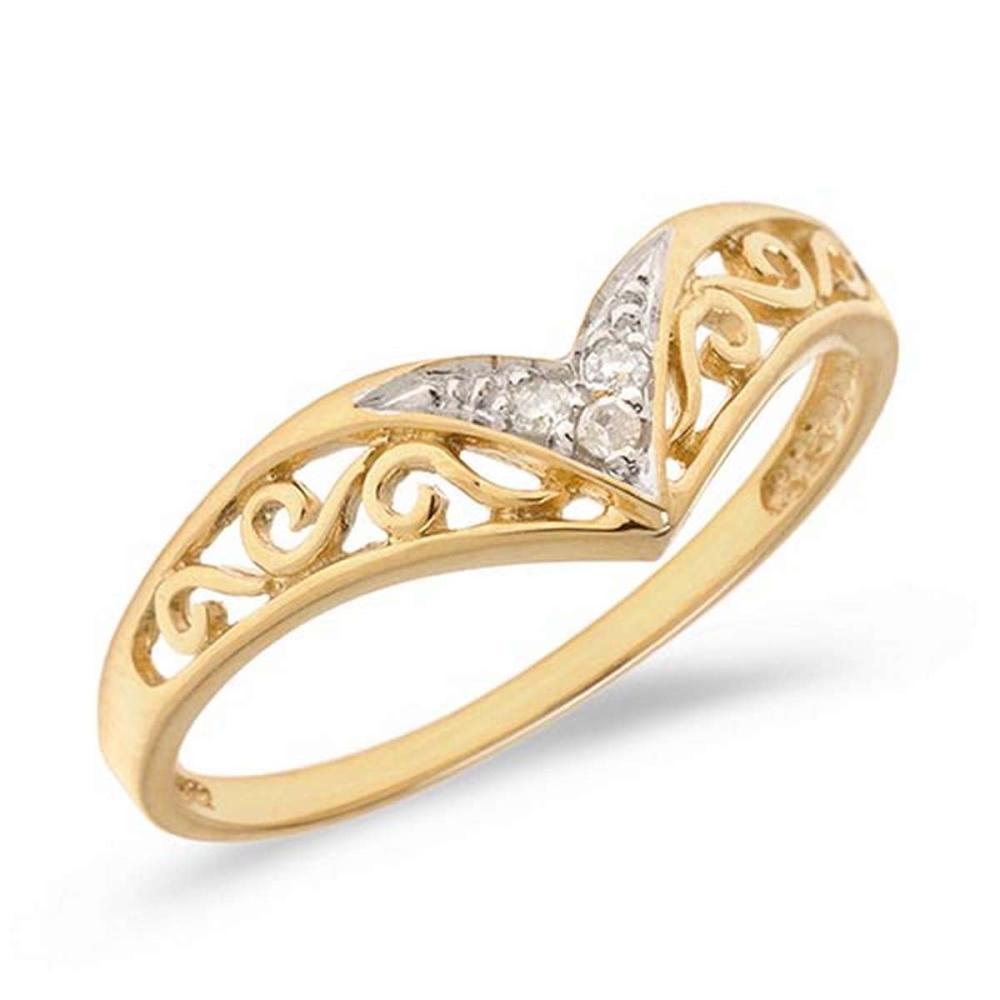 Certified 10K Yellow Gold Diamond Chevron Ring #PAPPS50536