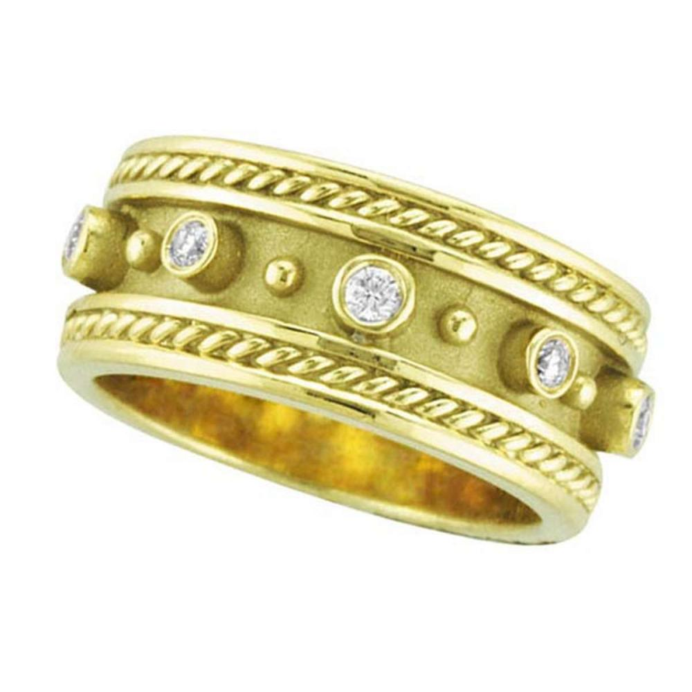 Antique Style Etruscan Diamond Ring in 18k Yellow Gold (0.18 ctw) #PAPPS51638