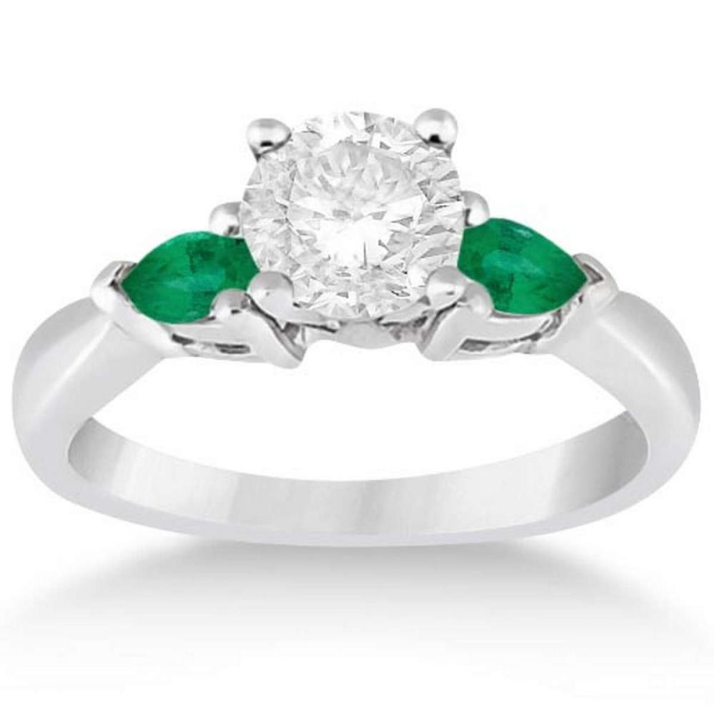 Pear Cut Three Stone Emerald Engagement Ring Platinum (1.30ct) #PAPPS21111