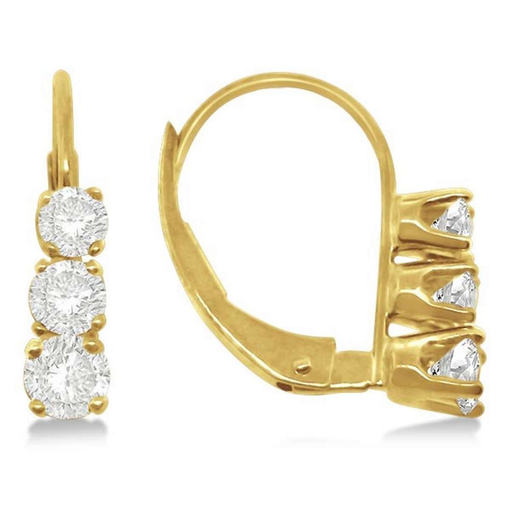 Three-Stone Leverback Diamond Earrings 14k Yellow Gold (0.50ct) #PAPPS21108