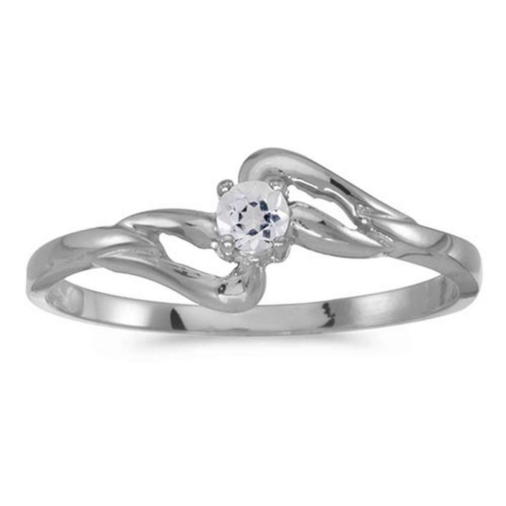 Certified 14k White Gold Round White Topaz Ring #PAPPS50632