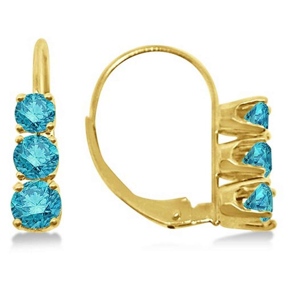 Three-Stone Leverback Blue Diamond Earrings 14k Yellow Gold (1.00ct) #PAPPS65626