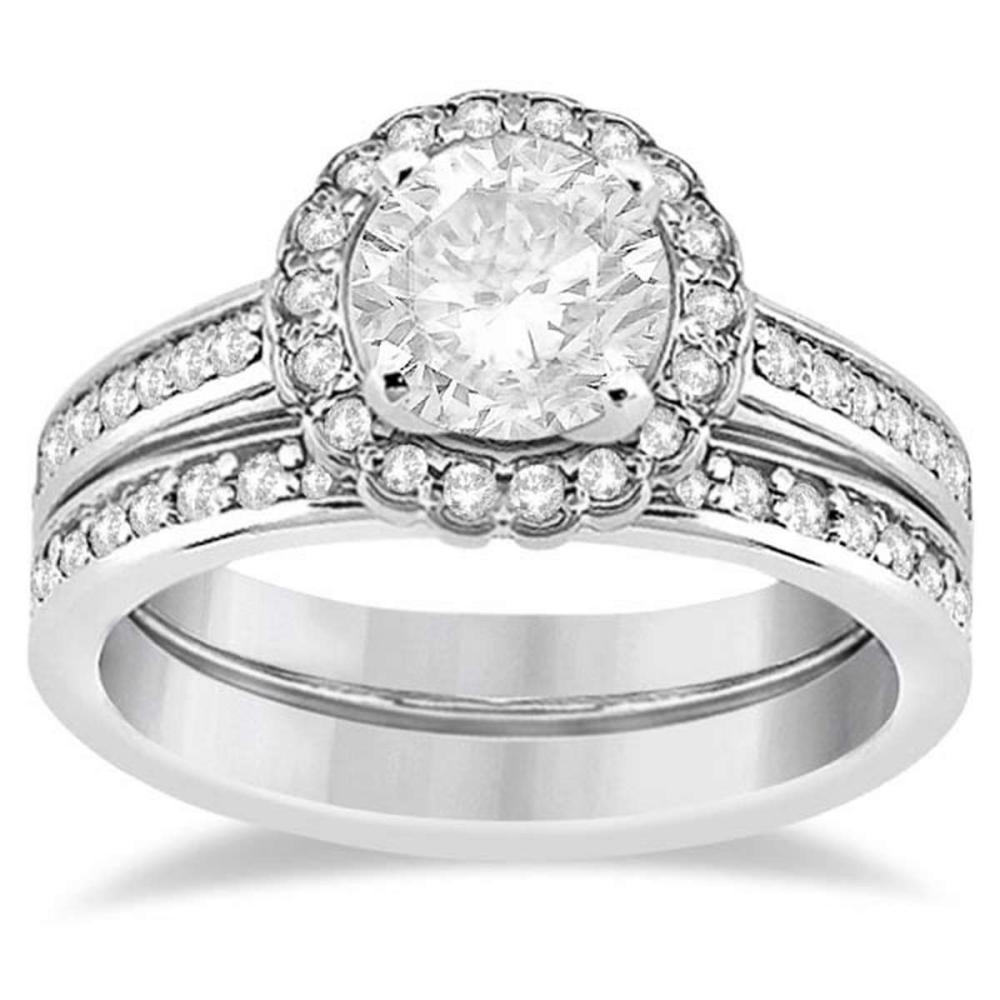 Modern Flower Halo Diamond Engagement Set Platinum (1.00ct) #PAPPS21054