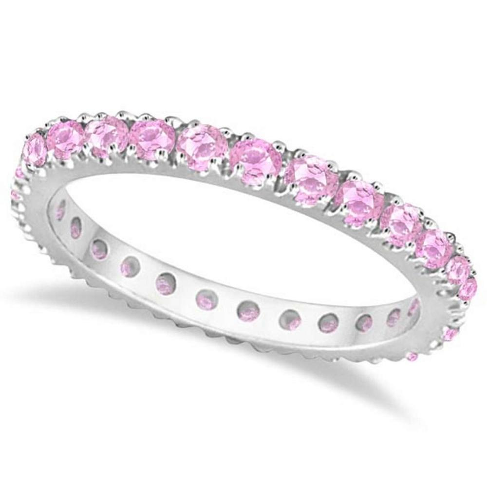 Pink Sapphire Eternity Ring Stackable Band 14k White Gold (0.73ct) #PAPPS51907