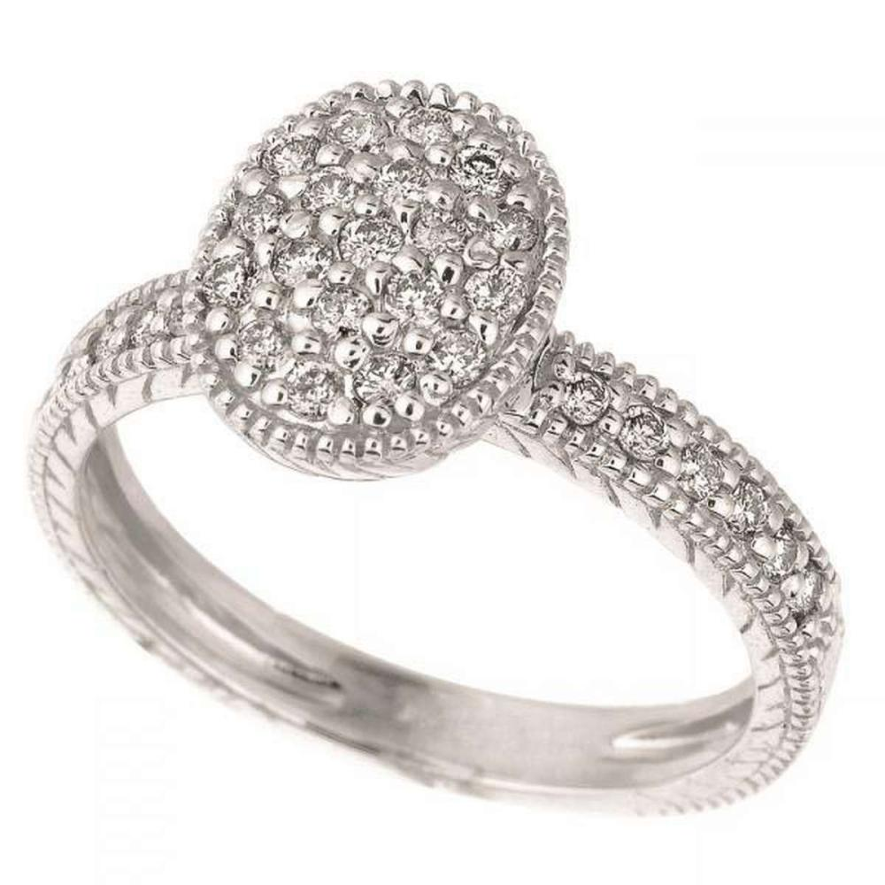 Diamond Oval Shaped Cocktail Ring 14k White Gold (0.50 ctw) #PAPPS51542