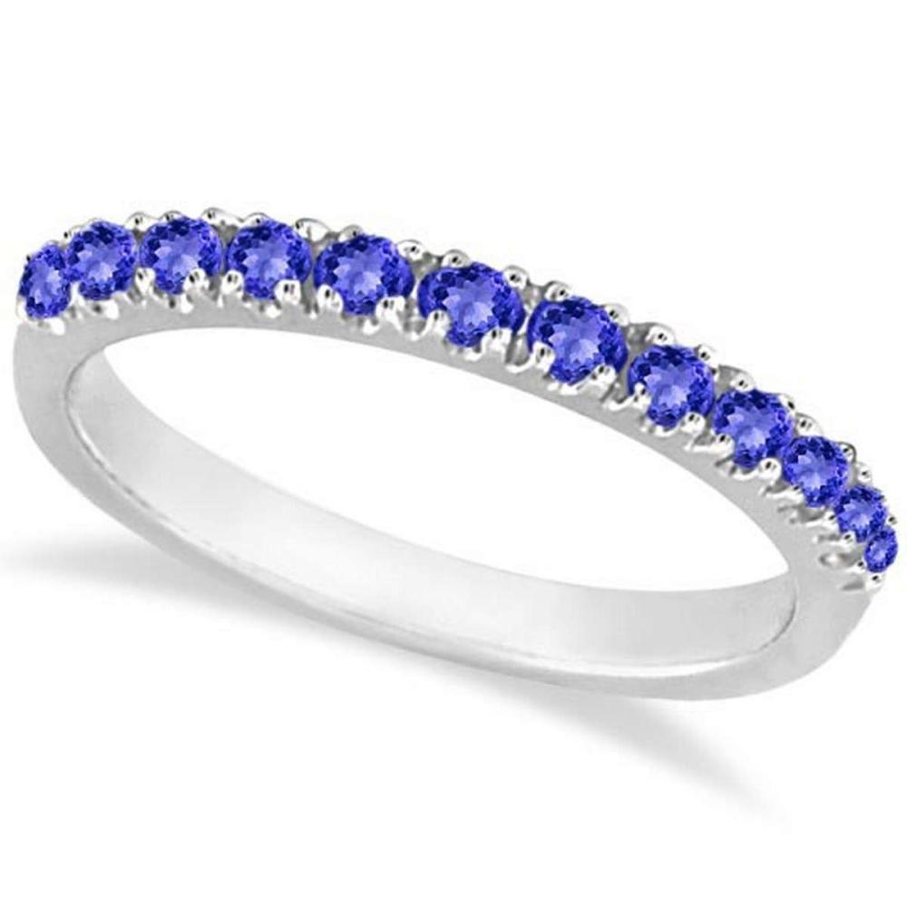 Tanzanite Stackable Band Anniversary Ring Guard 14k White Gold (0.38ct) #PAPPS20756
