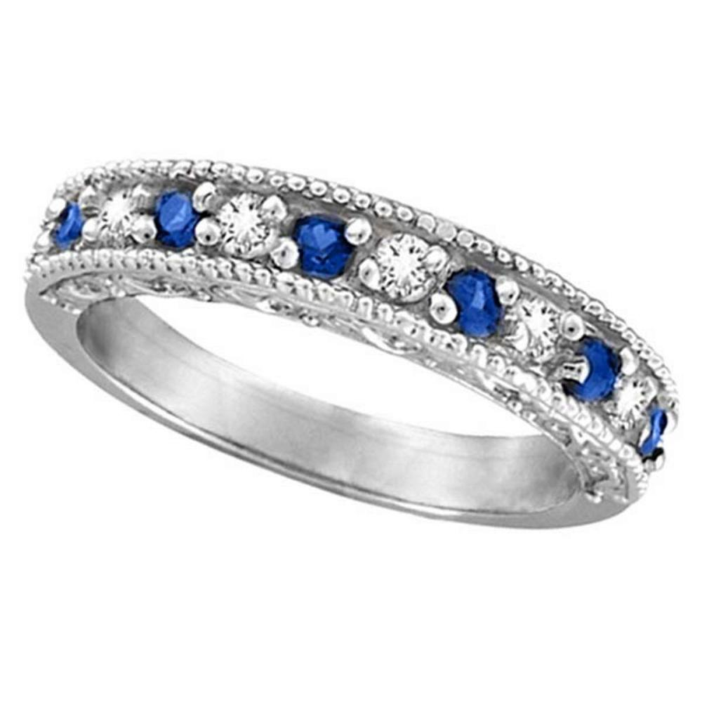 Blue Sapphire and Diamond Ring Anniversary Band 14k White Gold (0.30ct) #PAPPS51895