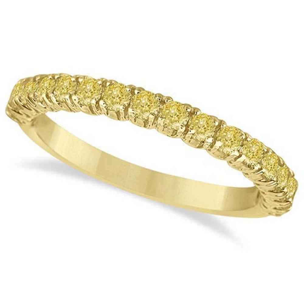 Half-Eternity Pave Yellow Diamond Stacking Ring 14k Yellow Gold (0.75ct) #PAPPS65930