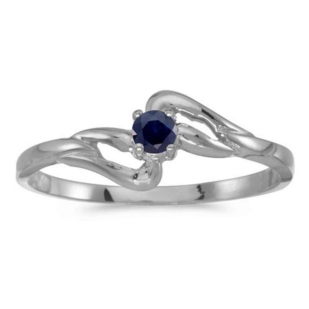 Certified 14k White Gold Round Sapphire Ring #PAPPS50611