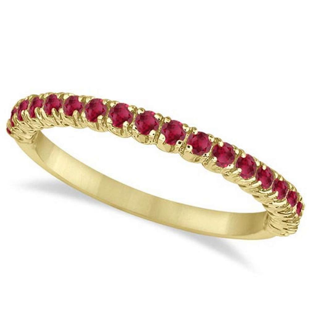 Half-Eternity Pave-set Thin Ruby Stacking Ring 14k Yellow Gold (0.65ct) #PAPPS65958