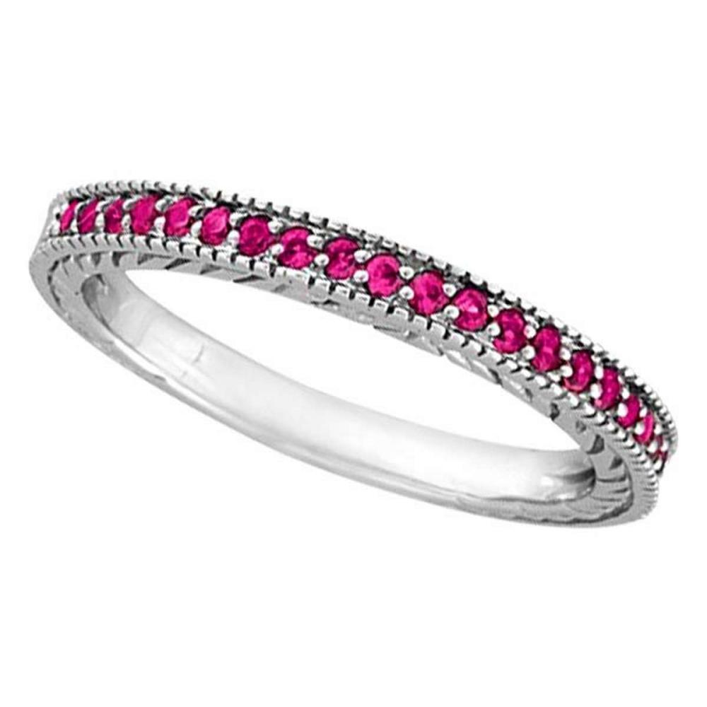 Pink Sapphire Stackable Ring with Milgrain Edges in 14k White Gold #PAPPS51597