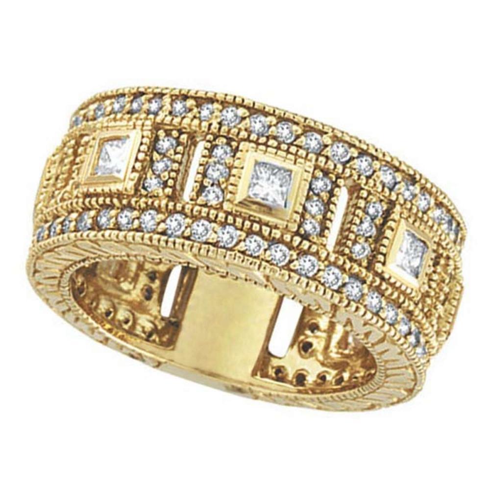Round and Princess Eternity Diamond Byzantine Ring 14k Yellow Gold (1.72ct) #PAPPS51647