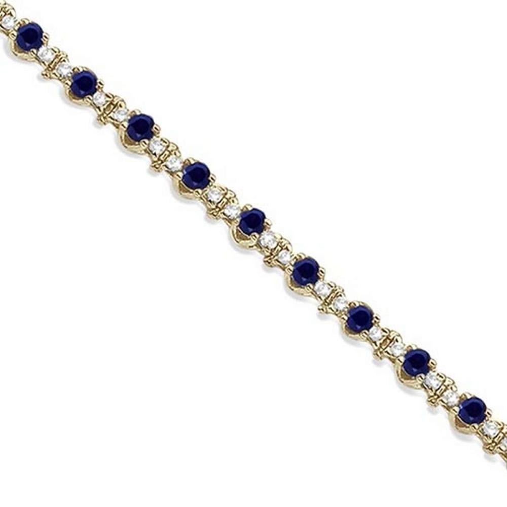 Round Blue Sapphire and Diamond Tennis Bracelet 14k Yellow Gold (2.50ct) #PAPPS65712
